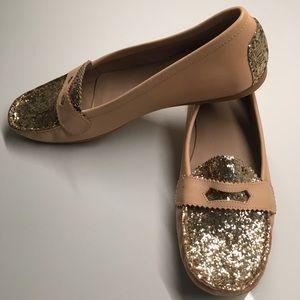 Stuart Weitzman Glitter Penny Leather Loafers